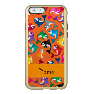 Personalized name orange rainbow killer whales incipio feather shine iPhone 6 case
