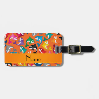 Personalized name orange rainbow killer whales luggage tag