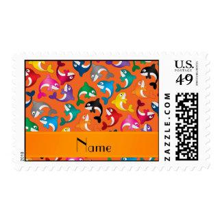Personalized name orange rainbow killer whales postage stamp