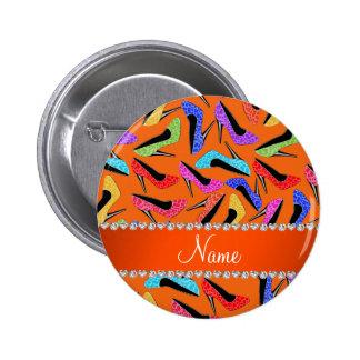 Personalized name orange rainbow leopard high heel 2 inch round button