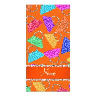 Personalized name orange rainbow leopard purses photo card
