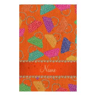 Personalized name orange rainbow leopard purses queork photo print