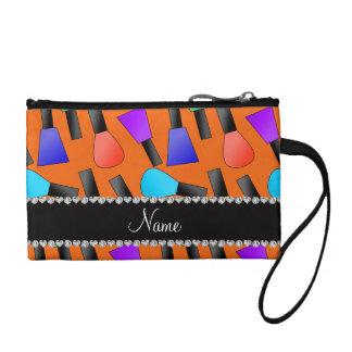 Personalized name orange rainbow nail polish coin wallet