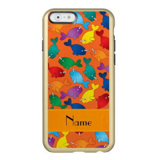 Personalized name orange rainbow narwhals incipio feather shine iPhone 6 case