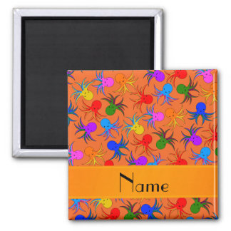 Personalized name orange rainbow octopus 2 inch square magnet