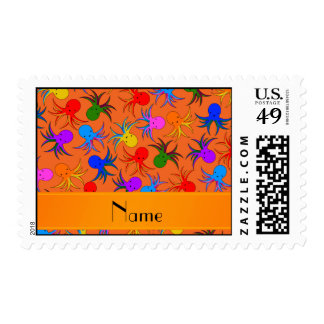 Personalized name orange rainbow octopus postage