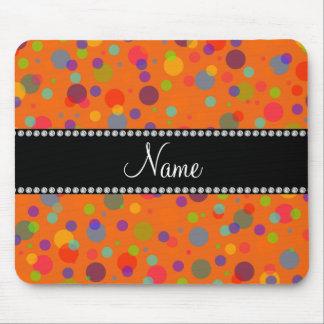 Personalized name orange rainbow polka dots mouse pad