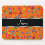 Personalized name orange rainbow polka dots mouse pads