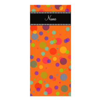 Personalized name orange rainbow polka dots rack card