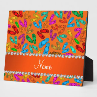 Personalized name orange rainbow sandals display plaque