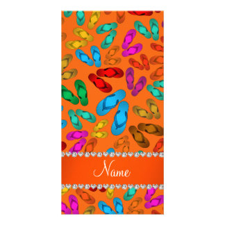 Personalized name orange rainbow sandals picture card