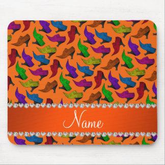 Personalized name orange rainbow vintage shoes mouse pad