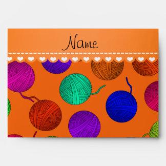 Personalized name orange rainbow yarn balls envelope