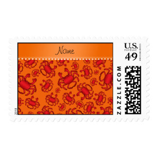 Personalized name orange red crab pattern stamps