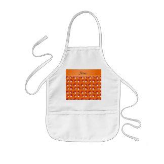 Personalized name orange red mushrooms kids' apron