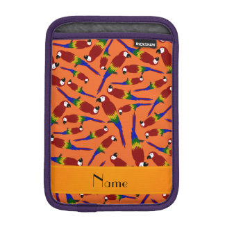 Personalized name orange red parrots sleeve for iPad mini