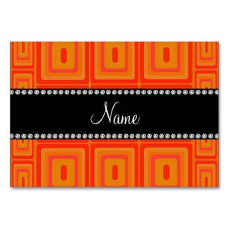 Personalized name orange retro colorful squares table card