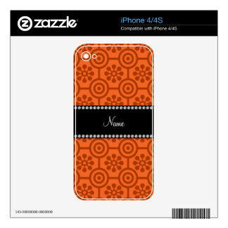 Personalized name orange retro flowers skins for the iPhone 4