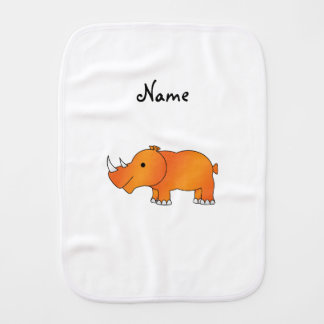 Personalized name orange rhino baby burp cloth