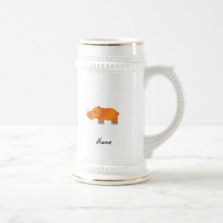 Personalized name orange rhino beer stein