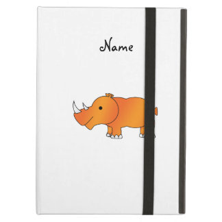 Personalized name orange rhino iPad air cases