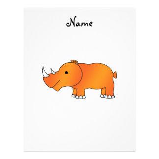 Personalized name orange rhino custom letterhead