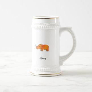 Personalized name orange rhino 18 oz beer stein