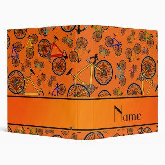 Personalized name orange road bikes vinyl binders