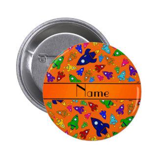 Personalized name orange rocket ships pins