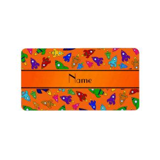 Personalized name orange rocket ships custom address labels