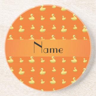Personalized name orange rubber duck pattern beverage coaster