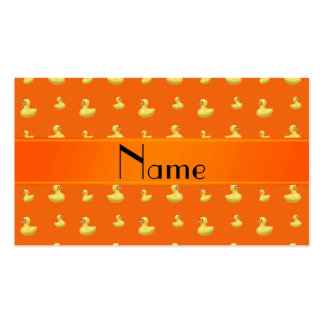 Personalized name orange rubber duck pattern business card templates