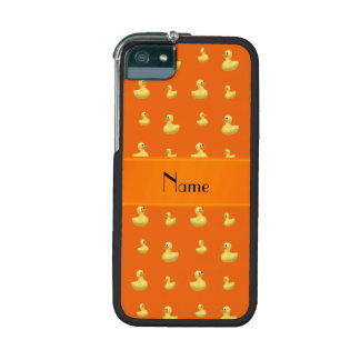 Personalized name orange rubber duck pattern iPhone 5 cover