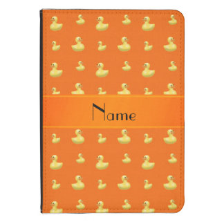 Personalized name orange rubber duck pattern kindle cover
