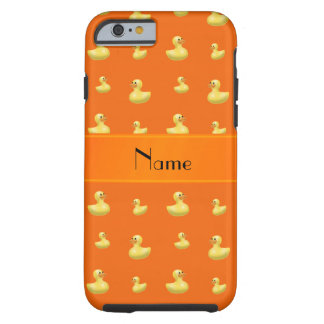 Personalized name orange rubber duck pattern tough iPhone 6 case