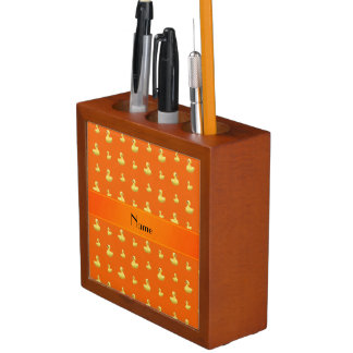 Personalized name orange rubber duck pattern pencil holder