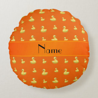 Personalized name orange rubber duck pattern round pillow