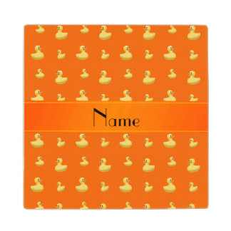 Personalized name orange rubber duck pattern maple wood coaster