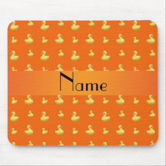 Personalized name orange rubber duck pattern mouse pad