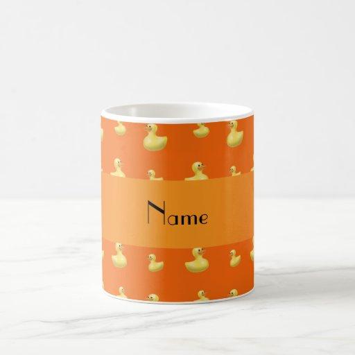 Personalized name orange rubber duck pattern coffee mugs