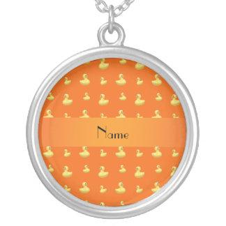 Personalized name orange rubber duck pattern pendant