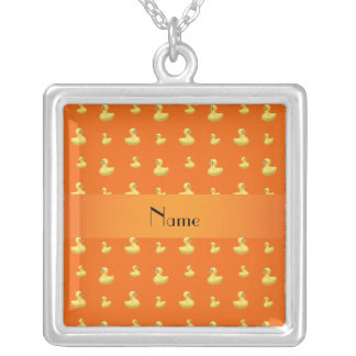 Personalized name orange rubber duck pattern necklace