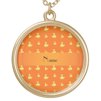 Personalized name orange rubber duck pattern custom jewelry