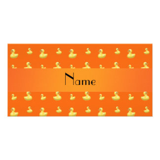 Personalized name orange rubber duck pattern photo card