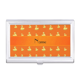 Personalized name orange rubber duck pattern business card holders