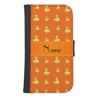 Personalized name orange rubber duck pattern phone wallets