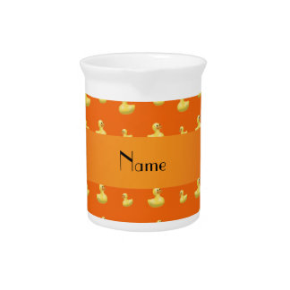 Personalized name orange rubber duck pattern pitcher