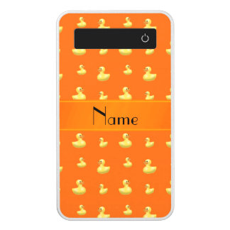 Personalized name orange rubber duck pattern power bank