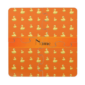 Personalized name orange rubber duck pattern puzzle coaster