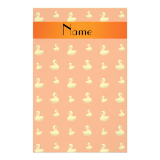 Personalized name orange rubber duck pattern stationery paper